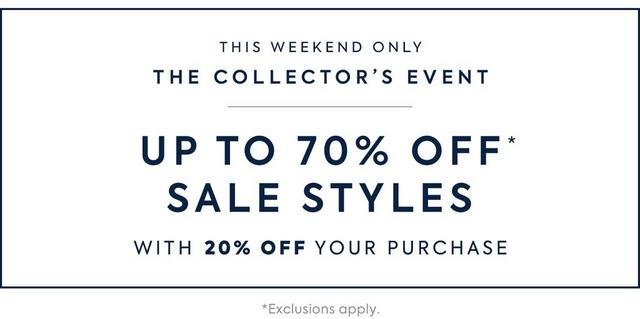 Up to 70% off sale styles with 20% off your purchase