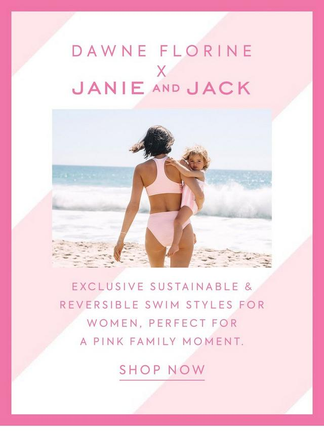 Dawne Florine x Janie and Jack. Exclusive sustainable & reversible swim styles for women. Perfect for a pink family moment.