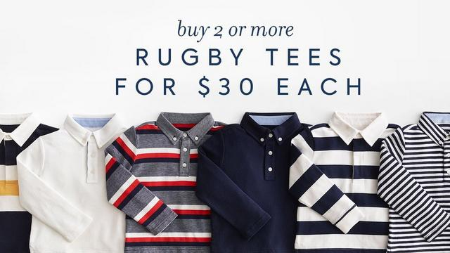 buy 2 or more rugby tees for $30 each