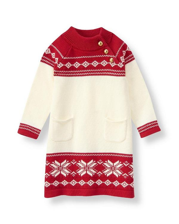 Girl Holly Red Fair Isle Fair Isle Sweater Dress by Janie and Jack