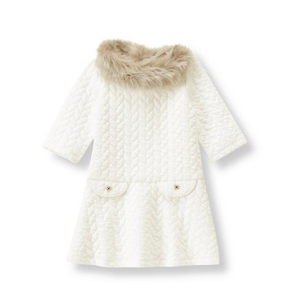 Faux Fur Trimmed Quilted Dress