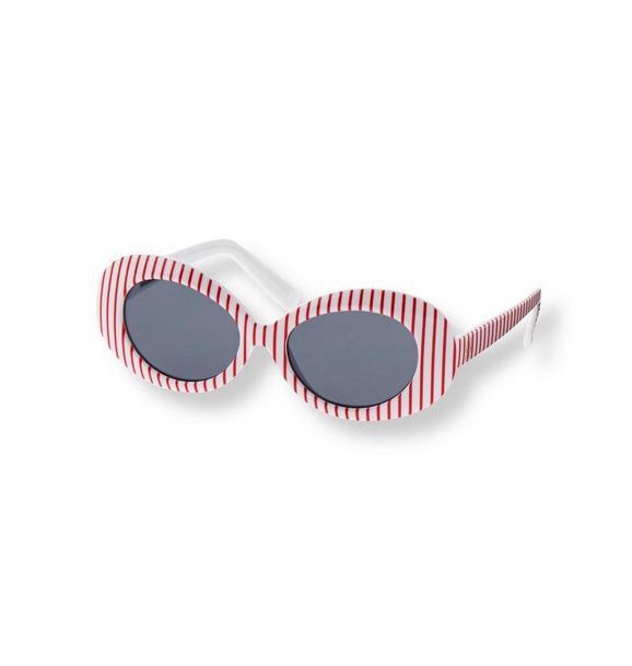 Striped Oval Sunglasses