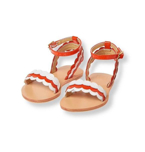 Scalloped Faux Patent Sandal