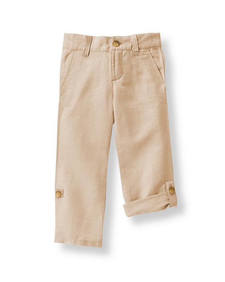 Boy Khaki Linen Pant By Janie And Jack