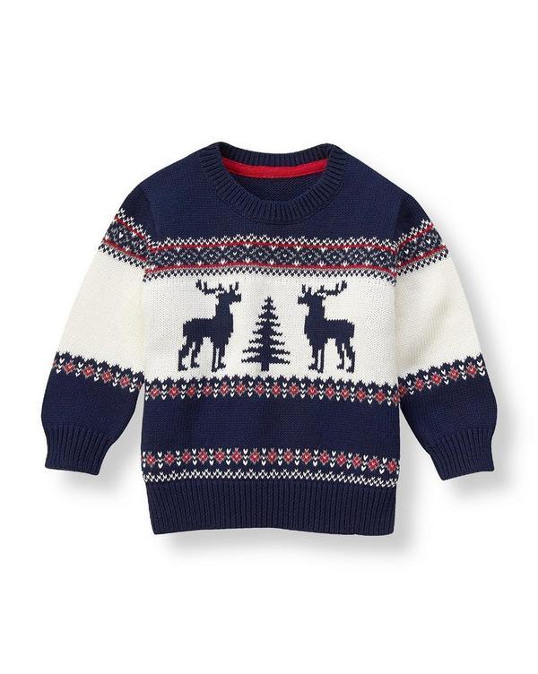 Boy Navy Reindeer Fair Isle Sweater by Janie and Jack