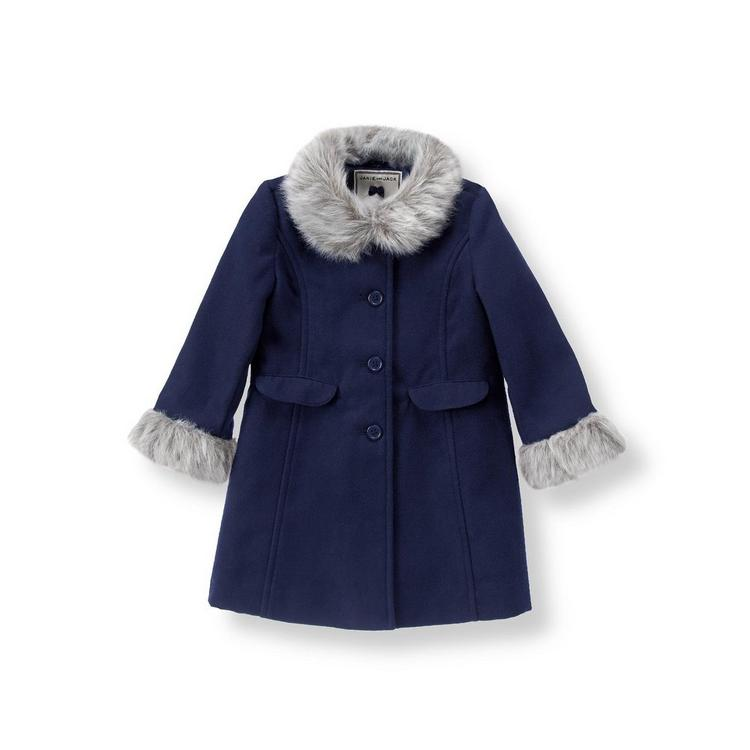 aa4e2e900 Girl Navy Faux Fur Trim Coat by Janie and Jack