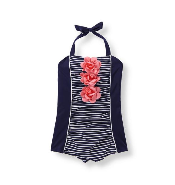 Floral Striped Swimsuit