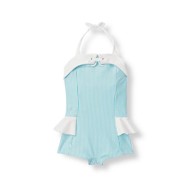 504f932061 Girl Aqua Stripe Seersucker Swimsuit by Janie and Jack