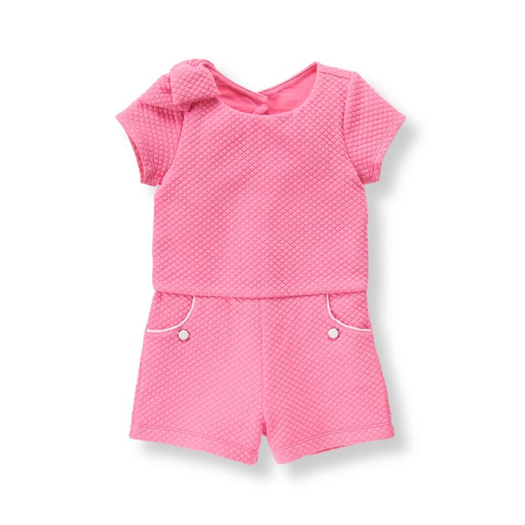 29725c41c797 Girl Preppy Pink Quilted Jacquard Romper by Janie and Jack