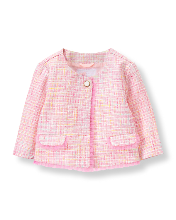 Girl Light Peony Pink Bouclé Jacket by Janie and Jack
