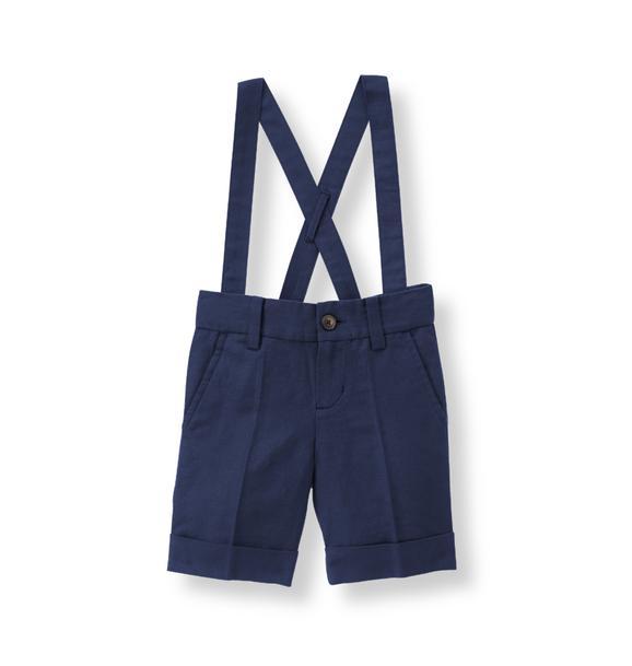Linen Blend Suspender Short