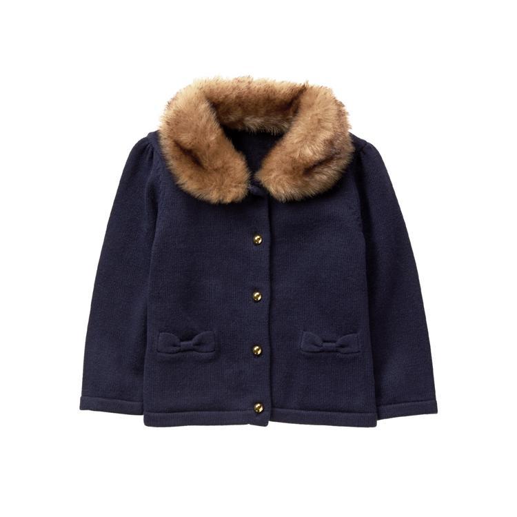 8367b4272 Girl Navy Faux-Fur Trim Cardigan by Janie and Jack