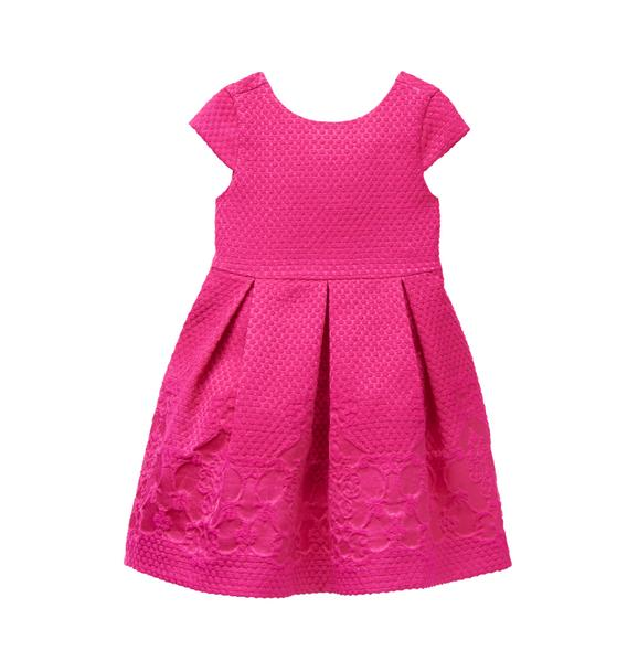 Girl Fuchsia Dot Jacquard Dress by Janie and Jack