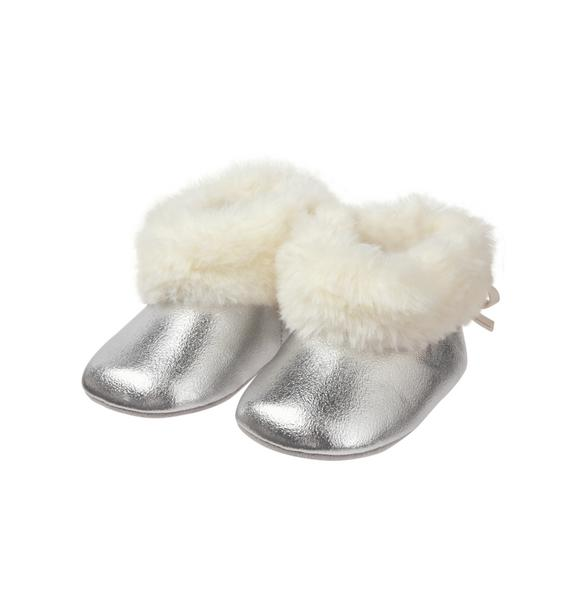 Metallic Faux Fur Bootie