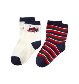 Train & Stripe Sock 2-Pack