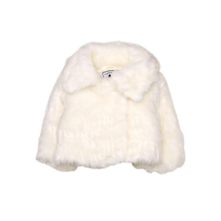 c90c7d8a1 Girl Ivory Faux Fur Coat by Janie and Jack