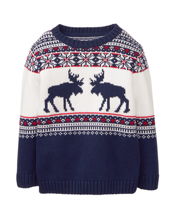Boy Navy Moose Fair Isle Sweater by Janie and Jack