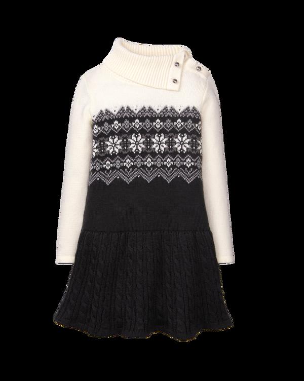 Girl Black Fair Isle Sweater Dress by Janie and Jack