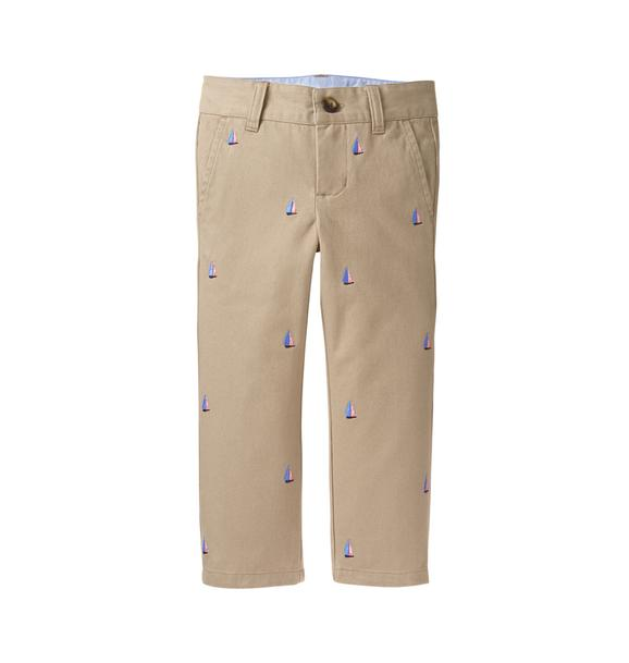 Embroidered Sailboat Pant
