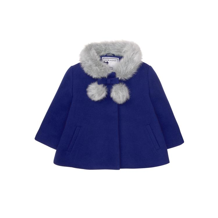 f784fd061c4 Girl Royal Blue Faux Fur Trim Coat by Janie and Jack