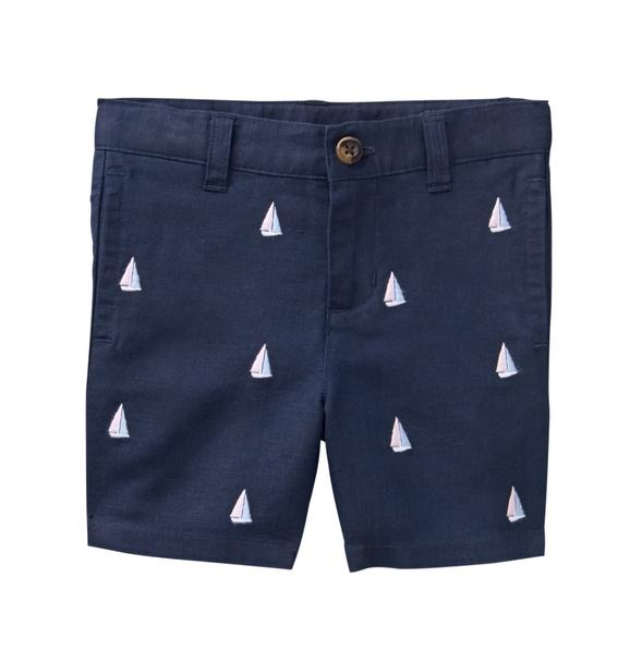 Embroidered Sailboat Short