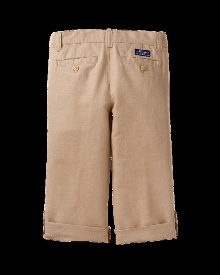 Boy Khaki Roll Cuff Linen Pant By Janie And Jack