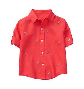 Roll-Cuff Parrot Shirt