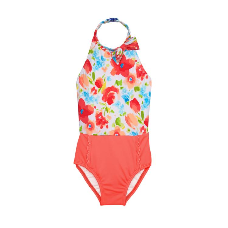 4e603f2ca3 Girl Coral Floral Halter Floral Swimsuit by Janie and Jack