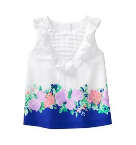 Floral Border Ruffle Top