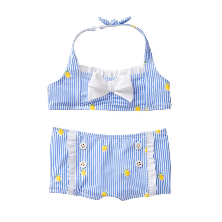 bb3c55e280d8a9 Girl Sky Blue Lemon Print Striped Lemon 2-Piece Swimsuit by Janie ...