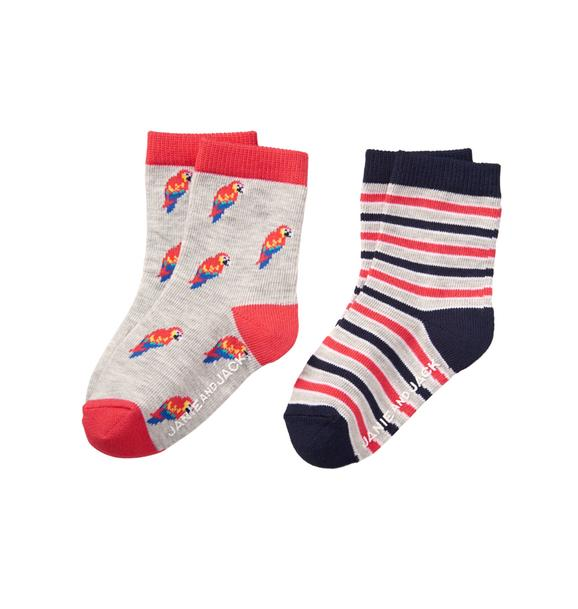 Parrot & Stripe Sock 2-Pack