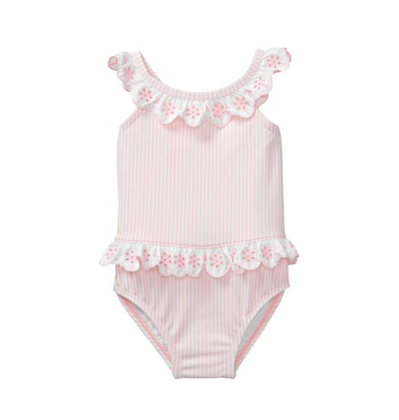 Striped Eyelet Swimsuit