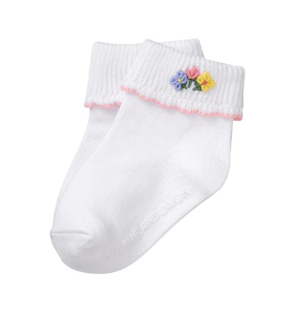 Embroidered Bloom Sock