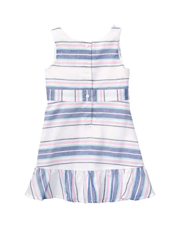 Girl White Stripe Striped Ruffle Dress by Janie and Jack