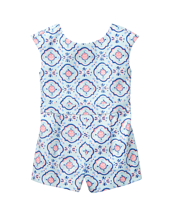 Girl Pastel Blue Tile Print Tile Print Romper by Janie and Jack