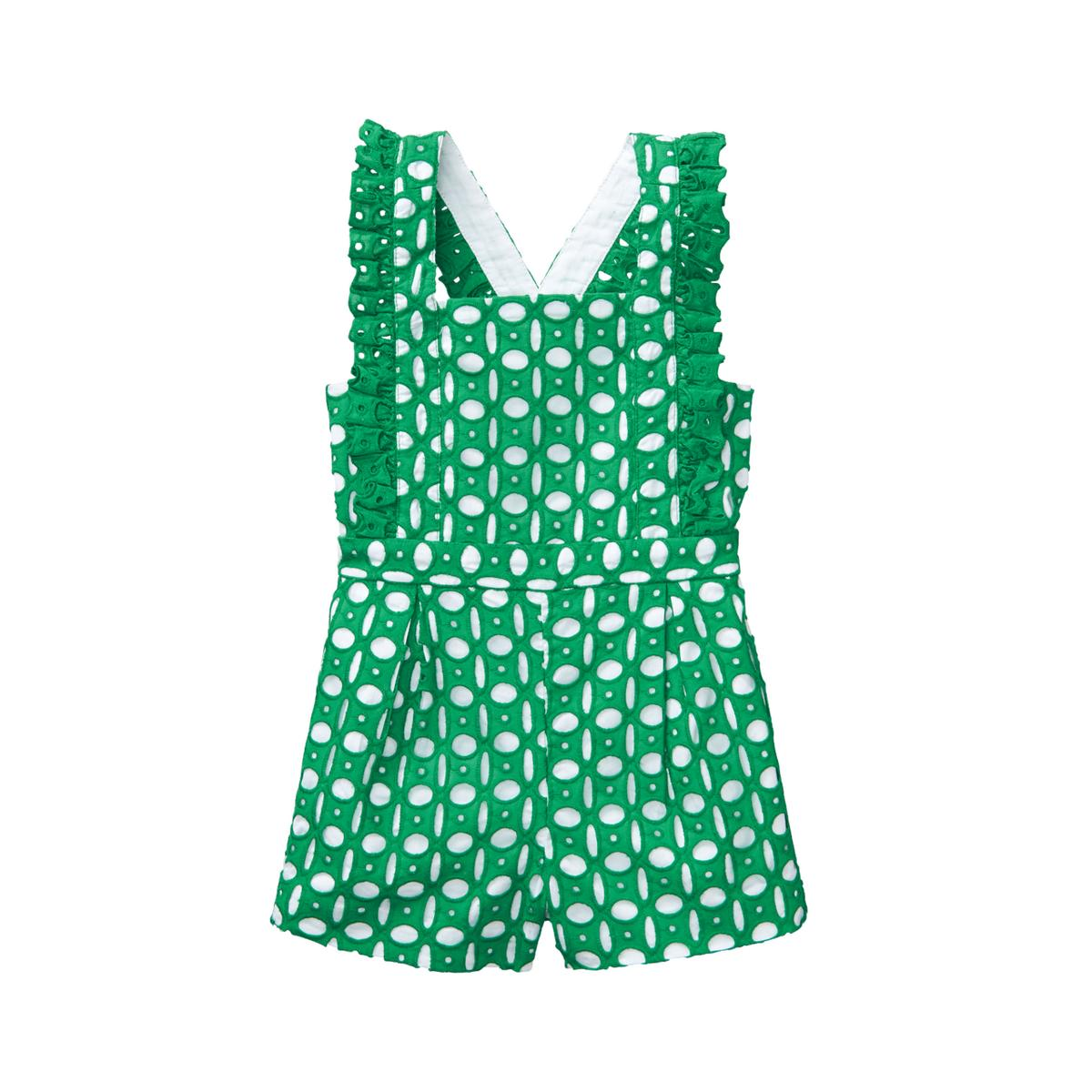 Girl Shamrock Green Eyelet Romper by Janie and Jack