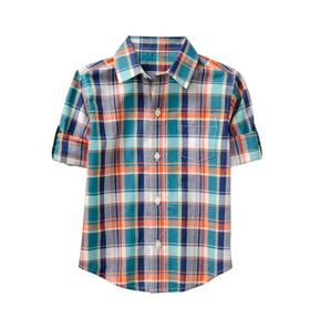 Roll-Cuff Plaid Madras Shirt