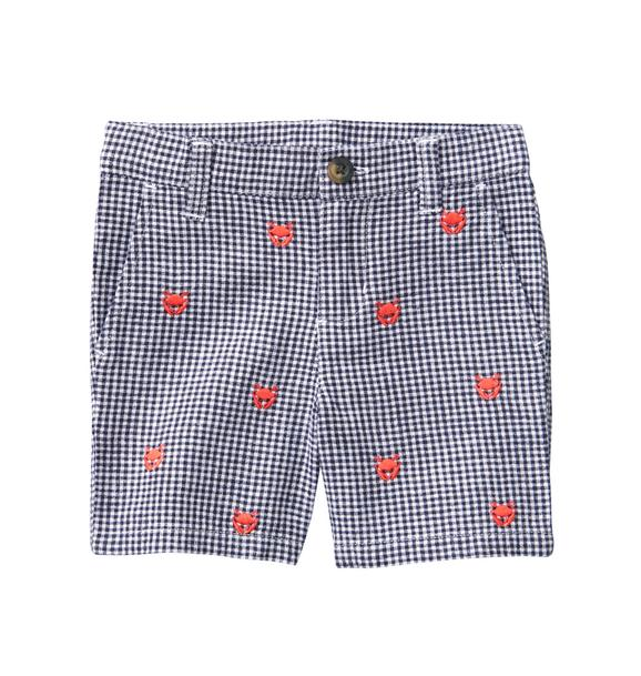 Embroidered Gingham Short