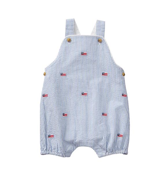 Embroidered Seersucker Overall