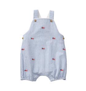 Embroidered Seersucker Overall