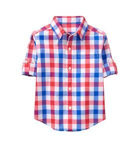 Roll-Cuff Plaid Shirt