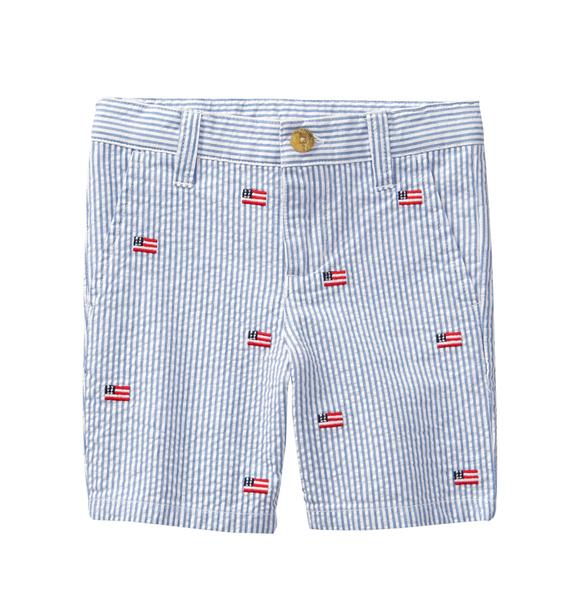 Embroidered Seersucker Short