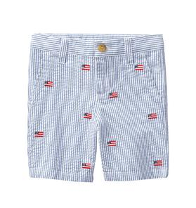 Embroidered Seersucker Short