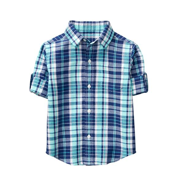 Plaid Linen Roll-Cuff Shirt