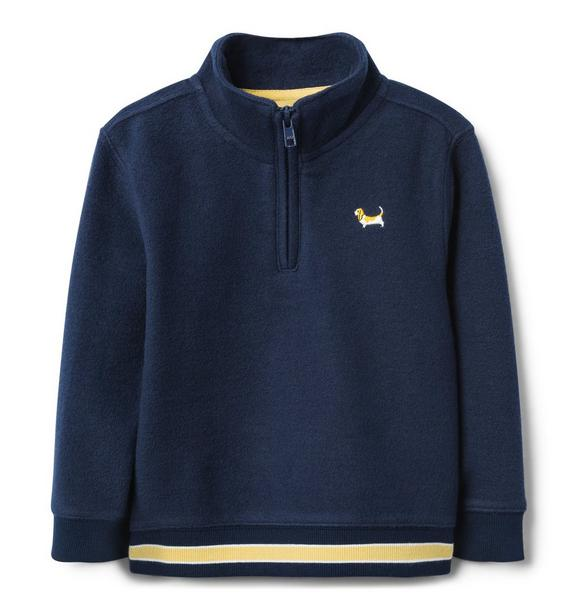 Embroidered Zip Pullover