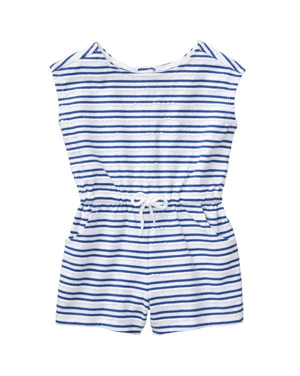 Girl Marine Blue Stripe Striped Romper by Janie and Jack
