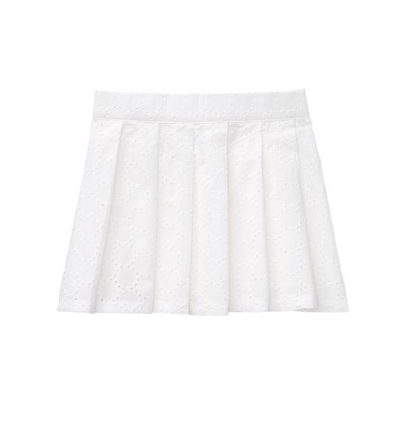 Pleated Eyelet Skirt