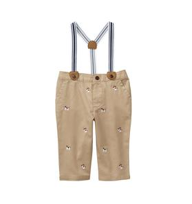 Embroidered Suspender Pant