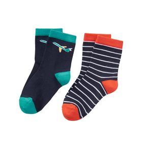 Plane & Stripe Sock 2-Pack