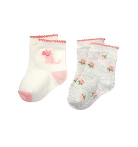 Cat & Floral Sock 2-Pack